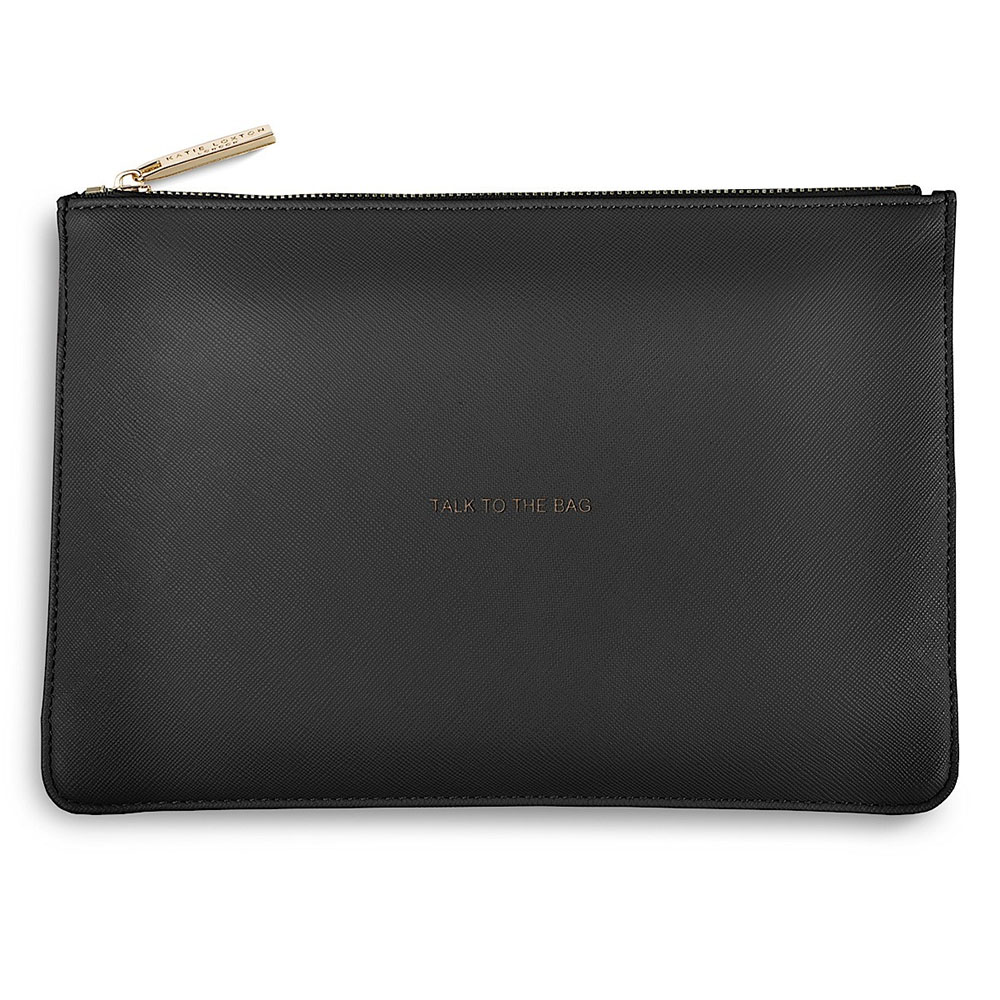 Size: S TALK TO THE BAG Katie Loxton Perfect Pouch Clutch Bag Charcoal Grey